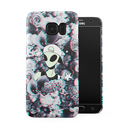 Swagy Alien Trippy Wildflowers Roses Pattern Tumblr Plastic Phone Snap On Back Case Cover Shell Compatible with Samsung Galaxy S7