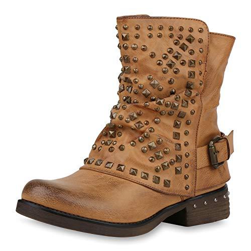 SCARPE VITA Damen Biker Boots Warm Gefütterte Stiefel Blockabsatz Stiefeletten Nieten Schnallen Booties Leder Optik Schuhe 177365 Hellbraun 38