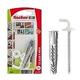 Fischer 094628 Tasselli UX 8 x 50 con Ganci Design, Bianco, 2 Pezzi, per Muro Pieno, Forati, Cartongesso, 94628
