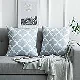 MIULEE 2er Pack Leinenoptik Home Dekorative Kissenbezug Geometrisches Kissen Kissenhülle für Sofa...
