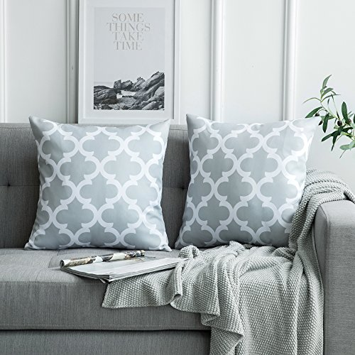 MIULEE 2er Pack Leinenoptik Home Dekorative Kissenbezug Geometrisches Kissen Kissenhülle für Sofa Schlafzimmer Auto mit Reißverschlüsse Grau 18 x 18 inch 45 x 45 cm