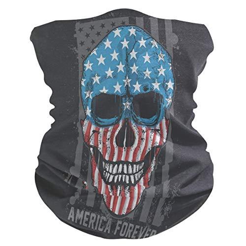 LDIYEU Cráneo America USA Bandera Obra De Arte Pañuelo Bandana para la Cara 3D Balaclava Motero Bufanda Ciclismo Bici Máscara Facial Protección UV para Ciclismo con Bolsillo