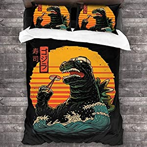 Oyshriola Japanese Kaiju Movie Parody Godzilla King of Sushi Bedding Set 3 Piece Two Pillowcases and One Quilt Cover 86…