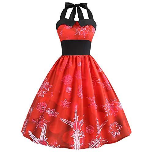 YWLINK Damen Neckholder Rockabilly Jahrgang Weihnachten Gedruckt Halfter ÄRmellos Abendgesellschaft Prom Swing Kleid(XXL,Rot)