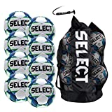SELECT Turf Soccer Ball Package, Pack of 8 Soccer Balls with Duffle Ball Bag and Hand Pump, White/Blue/Green, Size 5