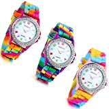 Lancardo Rhinestone Rainbow Color Silicon Jelly Fun Play Cheap Watches for Women - Pack of 3