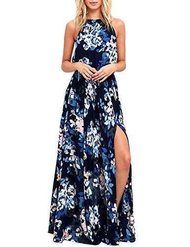 Donne Elegante Abito da Cerimonia Sera Lungo Schienale Fascia Vestito Senza Maniche Estivo Casual Floreale Fiori Fantasia Dress (M, Blu)