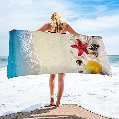 Opprxg Toalla de baño de Microfibra de Secado rápido Toalla de Playa con Forma de Estrella de mar Toalla Deportiva Grande Estera de Yoga Toalla de Playa 150x75cm