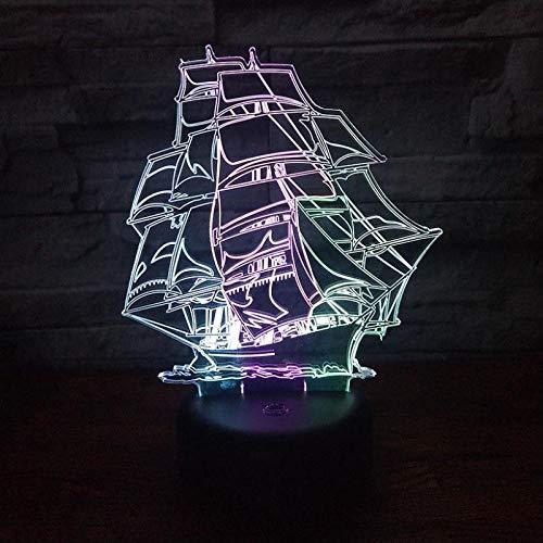 Nur 1 Stück Schiff führte 3d bunte Nachtlicht kreative visuelle Berührung ChargingAtmosphere Geschenklampe Weihnachten tive Lichter