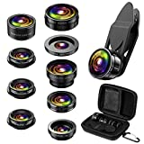 (Newest) Phone Camera Lens, 9 in 1 Lens Kit, Zoom Lens, 0.36X Wide Angle Lens + 0.63X Wide Lens + 15X Macro Lens + 20X Macro Lens + Fisheye Lens + CPL + Starburst Lens Telephoto Lens for Smartphone