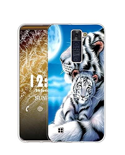 Sunrive Funda Compatible con LG K10 2016, Silicona Slim Fit Gel Transparente Carcasa Case Bumper de Impactos y Anti-Arañazos Espalda Cover(Q Tigre 3)