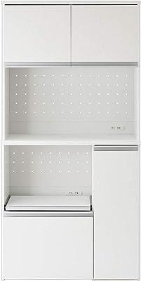 ぼん家具 キッチン収納 レンジ台 大型レンジ対応 キッチンボード 約90cm幅 木製 ホワイト