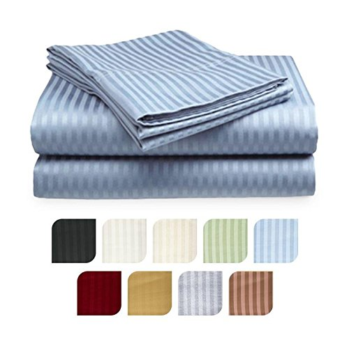 Crystal Trading 4-Piece Bed Sheet Set - Dobby Stripe - 100% Cotton Sateen