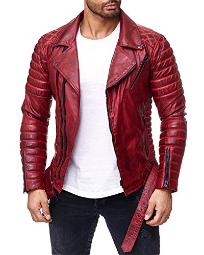 Reichstadt Herren Jacke RS001 Bordeaux - RS001 PU - Black Zipper M