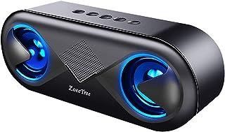ZoeeTree bluetooth スピーカー ワイヤレススピーカー 高音質 重低音 充電式 大音量 ブルートゥーススピーカー usb マイク搭載 LED スマホスピーカー ハンズフリー通話 ステレオ コスパ最高 (ブラック)