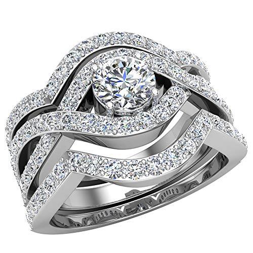 Criss Cross Intertwined Diamond Wedding Ring Set w/Enhancer Bands 1.20 Carat 14k White Gold (Ring Size 8) (G, SI)