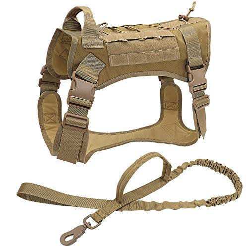 Chaleco para Mascotas Arnés táctico para Perros Ropa para Perros de Trabajo Militar Conjunto de Correa para Perros Arnés para Perros Perro Mediano Grande Pastor alemán-Khaki_Set_XL