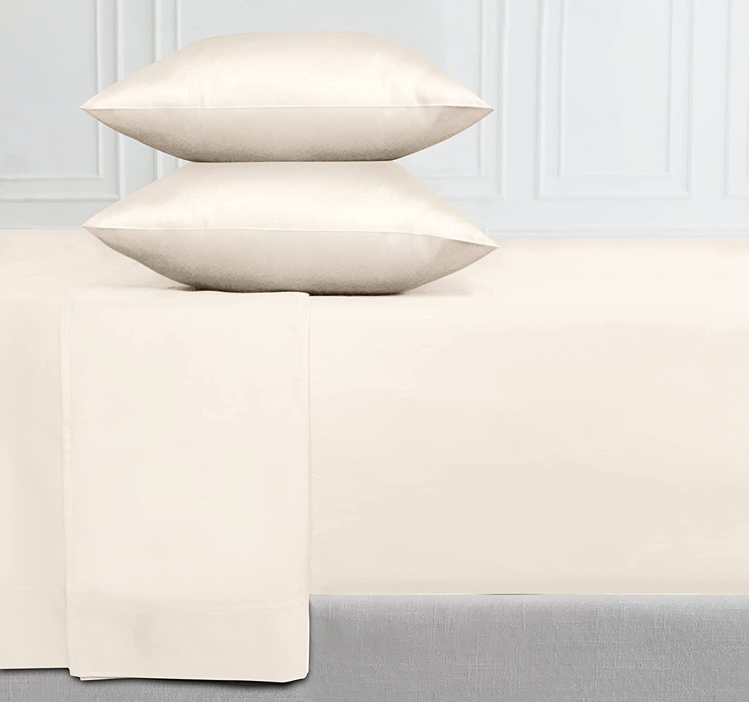 400-Thread-Count 100% Pure Cotton Sheets - 4-Piece Ivory Color King Sheet Set Long-Staple Combed Cotton Bed Sheets Breathable Sateen Weave Flat Sheets Fits Mattress 16'' Deep Pocket : Home & Kitchen