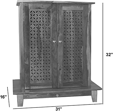 Aprodz Solid Wood Mandir/Prayer Cabinet- Mahogany