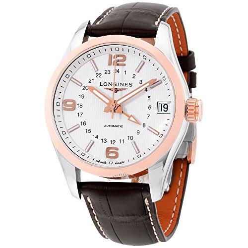 Longines hombre marrón piel de cocodrilo carcasa banda de acero automático blanco Dial analógico reloj l27995763