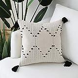 Hi-home Funda de cojín Boho Decorativa Fundas de almohada 30 x 50 cm Rectángulo Throw Fundas de almohada con borla moderna tejida para sofá dormitorio sala de estar (45 x 45 cm, Style1)