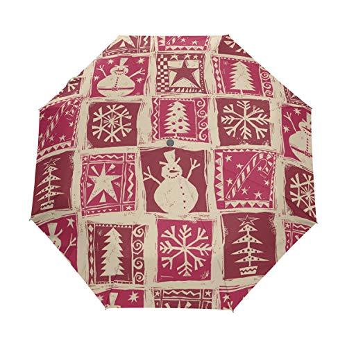 DEZIRO Homespun Weihnachts-Ausstechformer, 3-Fach faltbar, Regenschirm, Winddicht, wasserdicht