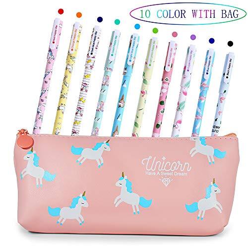 Bolígrafos de unicornio para niñas, regalo de cumpleaños escolar, VSTON juego de bolígrafos de unicornio para escribir con tinta negra suave para niños de 3 4 5 6 7 8 9 10 años, 10 unidades