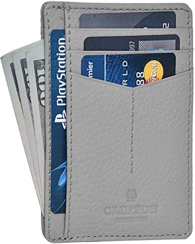 Clifton Heritage RFID Front Pocket Leather Minimalist Wallet (Gray) $5.95