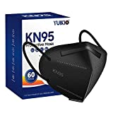 KN95 Face Mask,60 Pack Cup Protective Masks,5 Layers Filter Safety Mask Against PM2.5 Disposable KN95 Respirator Masks in Bulk (Black)