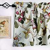 MYRU Flowers Birds Retro Curtain Valance for Windows (54' W x 18' L, Valance)