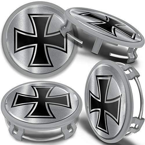 SkinoEu 4 x 75mm Tapas de Rueda de Centro Centrales Llantas Aluminio Tapacubos Compatibles con Mercedes Benz B66470207 / B66470200 Plata Gris Cruz de Hierro CMS 15