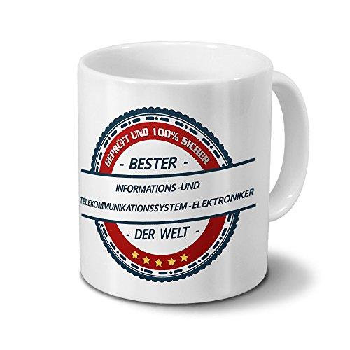 printplanet Tasse mit Beruf Informations-und Telekommunikationssystem-Elektroniker - Motiv Berufe - Kaffeebecher, Mug, Becher, Kaffeetasse - Farbe Weiß