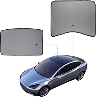 Model 3 Glass Roof Sunshade Sunroof Rear Window Sunshade Compatible for Tesla Model 3 2018 2019 2020 (2 of Set) (top roof+ Rear) (Front + Rear)