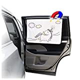 ggomaART Car Side Window Sun Shade - Universal Reversible Magnetic Curtain for Baby and Kids with Sun Protection Block Damage from Direct Bright Sunlight, and Heat - 1 Piece of Unicorn