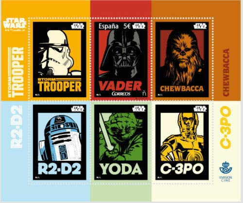 2017 Star Wars Characters, Collectible Sheet of 6 Stamps, Rare 3D Issue, Mint Never Hinged