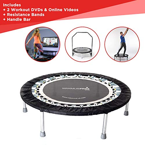 Maximus Pro Home Gym Rebounder Mini Trampoline with Handle Bar | Includes 2 x Awesome Rebound DVD's 7 Workouts | Adults Indoors | 150kg User Weight. Adult Exercise Trampoline | Already Assembled