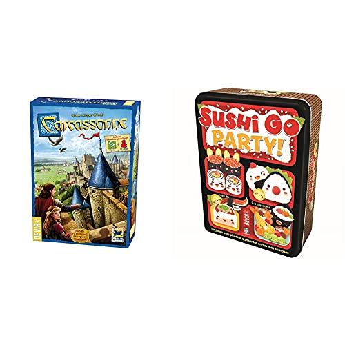Devir 222593 Carcassonne, Juego De Mesa (Versión En Castellano) + Sushi Go Party: Edición En Castellano, Juego De Mesa (Bgsgparty)