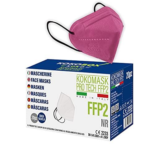 20pcs Mascarillas FFP2 de Colores Mascarillas MULTICOLORI Adultos Desechables Alta Eficiencia 5 Capas Envasadas Individualmente Ficiencia del filtro EFP #95% Máscaras Certificado CE2233