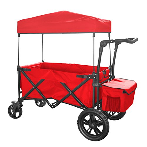 RED PUSH HANDLE AND REAR FOOT BRAKE FOLDING STROLLER WAGON OUTDOOR SPORT...