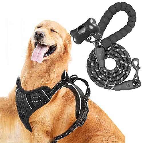 Hunde Geschirr, MerryBIY No Pull Hundegeschirr Brustgeschirr Einstellbar Weich Gepolsterter Sicher Kontrolle Vest Reflektierendes Verstellbares Welpen Brustgurt für Hundetraining