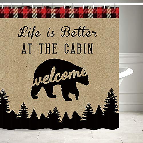 Rustic Cabin Bear Shower Curtain, Life Is Better at The Cabin And Woodland Forest Wild Animals Bear Retro Camping Welcome To The Cabin Shower Curtain, Polyester Shower Curtain For Bathroom, 69X70IN
