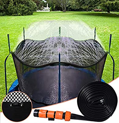 Bobor Trampoline Sprinkler for Kids, Outdoor Trampoline Backyard WaterPark Sprinkler, Trampoline Accessories, Fun Summer Outdoor Water Toys for Boys Girls. (Black, 39ft)