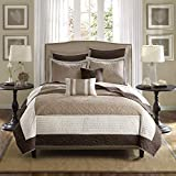Madison Park Attingham Reversible Quilt Set-Luxe Damask Stitching Design All Season, Lightweight Coverlet, Cozy Bedding, Matching Shams, Decorative Pillows, King/Cal King, Beige, 7 Piece