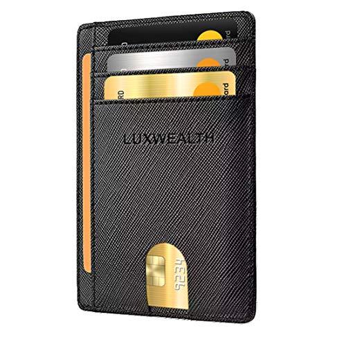 LUXWEALTH Slim minimalist front pocket RFID blocking Credit Card Holder wallets for men women