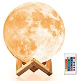 Moon Lamp, 3D Printing Moon Globe Light 7.1 Inch Glowing Moon Lamp Tap Change 16 Colors, Decor Moon Light for Kids, Birthday, Bedside