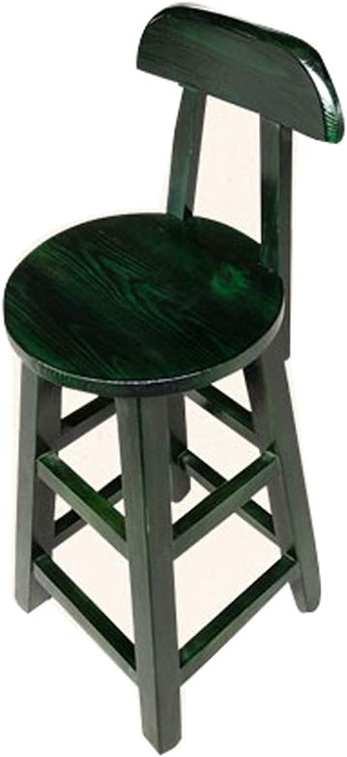Barstool Solid Wood bar Chair with backrest Home Desk Restaurant Stool 5 colors 4 Sizes (color   Green, Size   65CM)