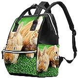 WJJSXKA Mochilas Bolsa de pañales Mochila para portátil Mochila de viaje Senderismo Mochila para mujeres Hombres - Gato rojo Conejo sobre hierba verde