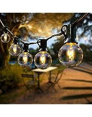 FOCHEA łańcuch świetlny na zewnątrz, żarówki G40, 12,8 m, 40 żarówek, łańcuch świetlny do ogrodu, na Boże Narodzenie, wesele, imprezę, dekoracja na zewnątrz, ciepła biel