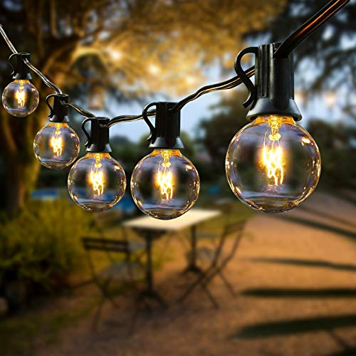 Lichterkette Außen, FOCHEA Lichterkette Glühbirnen G40 12.8m 40er Globe Birnen Lichterkette Garten für Weihnachten Hochzeit Party Aussen Dekoration Warmweiß