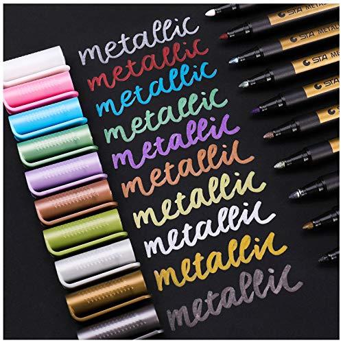 Sunshilor Metallic Marker Pens Medium Point Metallic Pens for Black Paper, Art Rock Painting, Halloween Pumpkin, Easter Egg, Ceramics, Wine Glass, Mug, Plastic, Wood, Scrapbook Crafts, 10 Colors